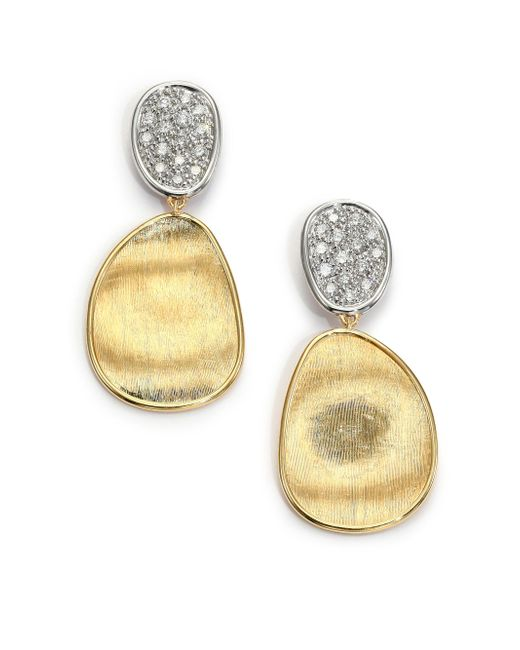 Marco Bicego - Metallic Lunaria Diamond & 18k Yellow Gold Small Drop Earrings - Lyst