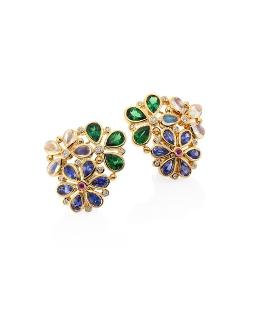 Temple St. Clair | Metallic Flower Cluster Diamond & Semi-precious Multi-stone Stud Earrings | Lyst