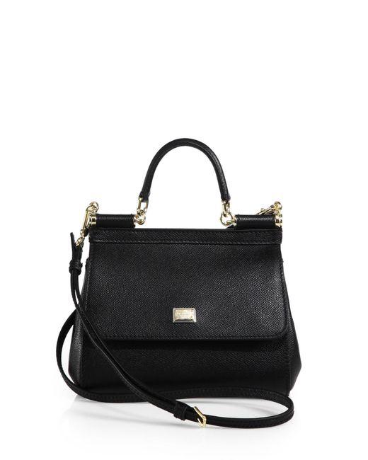 8dd90ec4a6 Dolce   Gabbana Small Sicily Leather Top Handle Satchel in Black - Lyst
