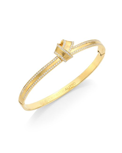 Carelle | Metallic Knot Diamond-trim Bangle | Lyst
