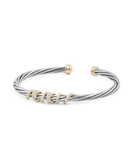 David Yurman - Metallic Helena Center Station Bracelet With Diamonds And 18k Gold - Lyst