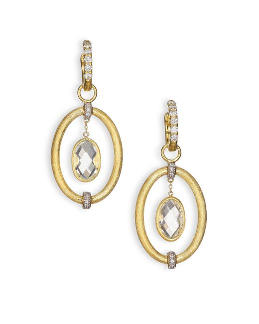 Jude Frances - Metallic Classic White Topaz, Diamond & 18k Yellow Gold Oval Link Earring Charms - Lyst