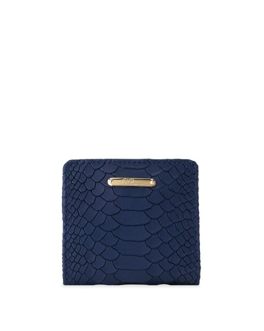 Gigi New York | Blue Mini Python-embossed Leather Bi-fold Wallet | Lyst