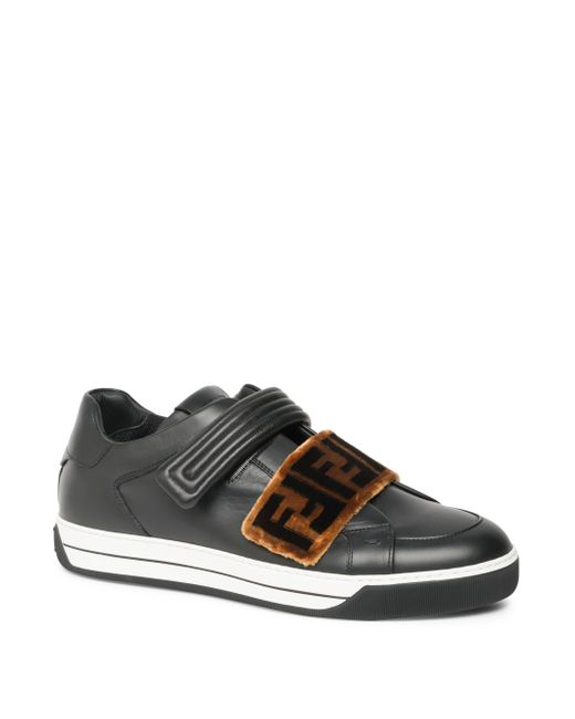 Fendi - Black Zucca Grip-tape Strap Sneakers for Men - Lyst