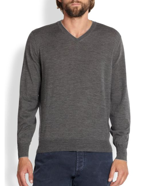 Brunello Cucinelli - Gray Wool/cashmere V-neck Sweater for Men - Lyst