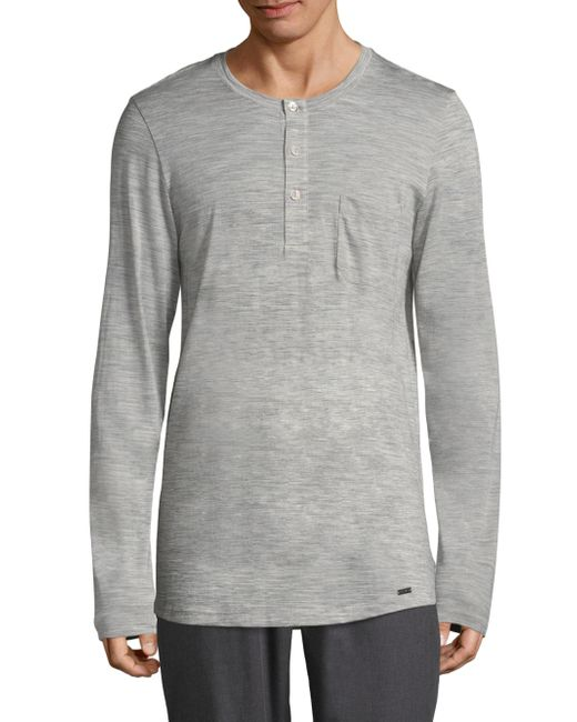 Hanro - Gray Wool & Silk Melange Henley for Men - Lyst