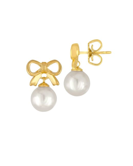 Majorica - Metallic 8mm Organic Pearl Bow Stud Earrings - Lyst