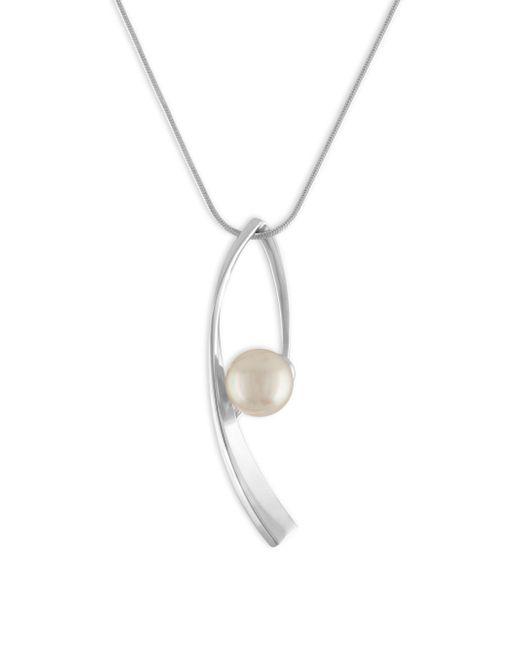 Majorica - Metallic 10mm White Organic Pearl & Sterling Silver Pendant Necklace - Lyst