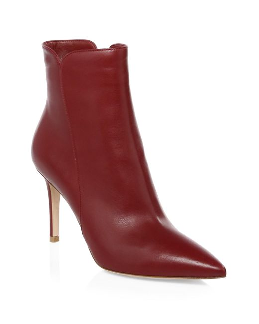 Gianvito Rossi - Red Pointy Leather Booties - Lyst