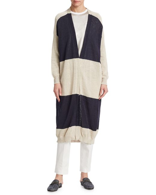 Brunello Cucinelli - Blue Long Striped Cotton Cardigan - Lyst