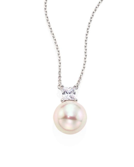 Majorica - Metallic 12mm White Round Pearl & Crystal Pendant Necklace - Lyst
