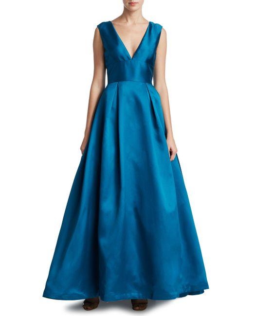 ML Monique Lhuillier - Blue Lace-inset V-back Ball Gown - Lyst