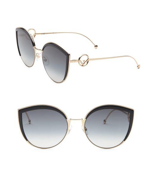 Fendi - Black 58mm Metal Cat Eye Sunglasses - Lyst