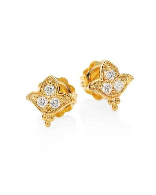 Temple St. Clair   Metallic Lotus Diamond & 18k Yellow Gold Stud Earrings   Lyst