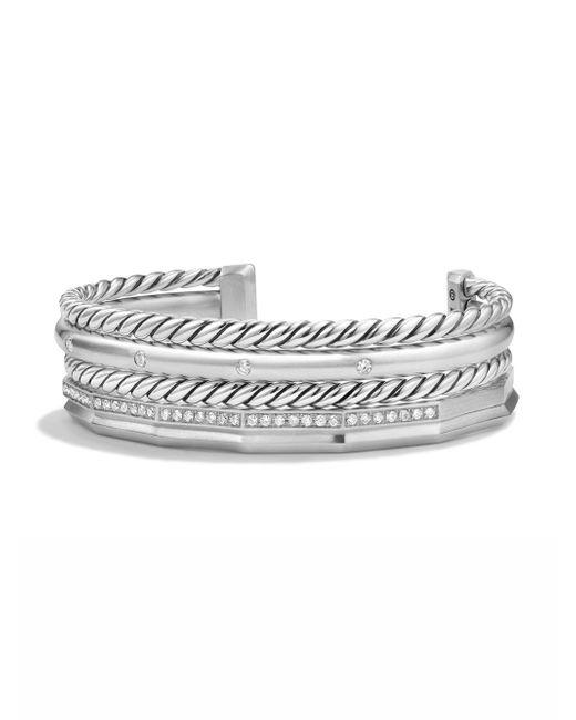 David Yurman - Metallic Stax Narrow Bracelet With Diamonds - Lyst