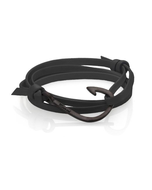 Miansai - Black Coated Brass Anchor Leather Bracelet for Men - Lyst