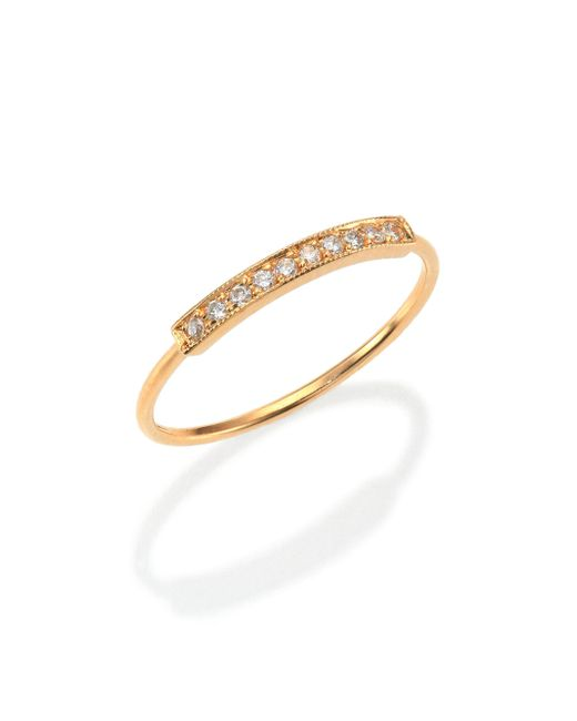 Zoe Chicco - Metallic Pavé Diamond & 14k Yellow Gold Horizontal Bar Ring - Lyst