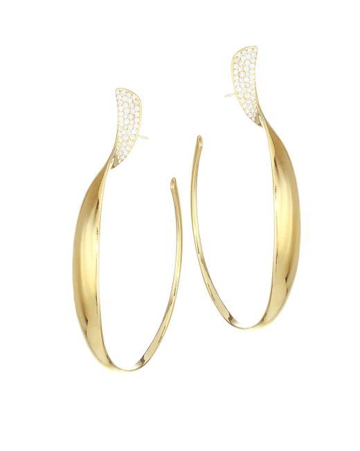 Ippolita - Metallic Stardust 18k Yellow Gold & Diamond Pavé Twisted Ribbon Hoop Earrings - Lyst