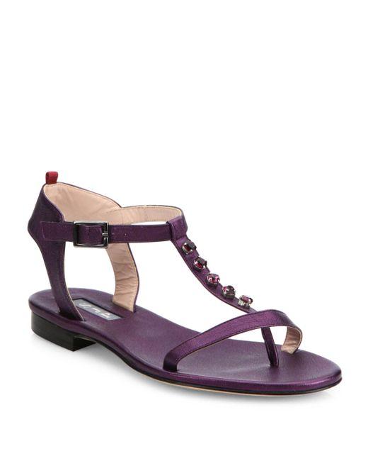 SJP by Sarah Jessica Parker   Purple Veronika Jeweled T-strap Leather Sandals   Lyst