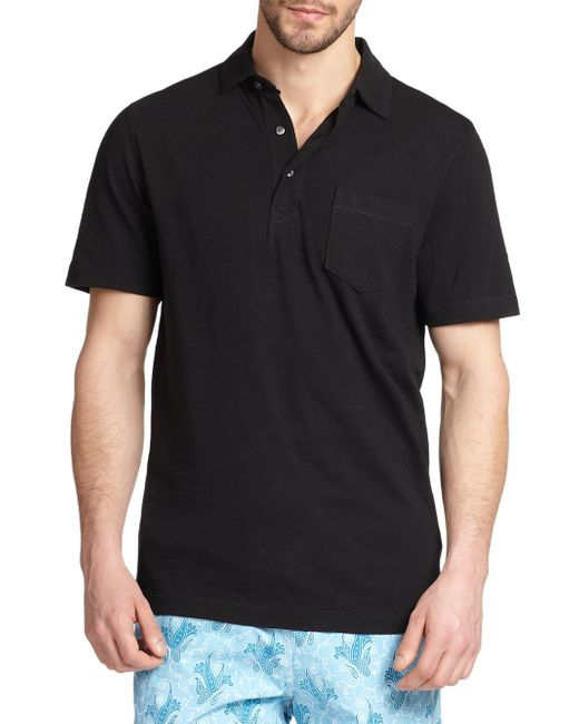 Saks Fifth Avenue - Black Slub Polo for Men - Lyst