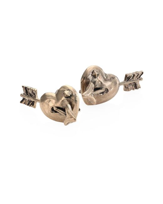 Valentino - Metallic Tropical Dream Pierced Heart Stud Earrings - Lyst