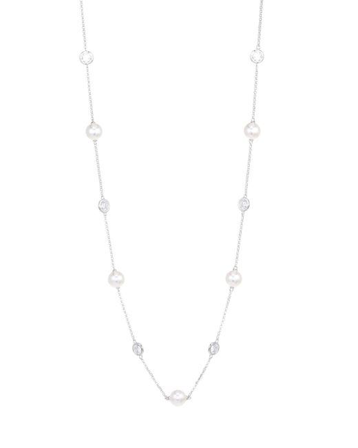 Adriana Orsini - Metallic 8mm Swarovski Pearl Station Necklace - Lyst