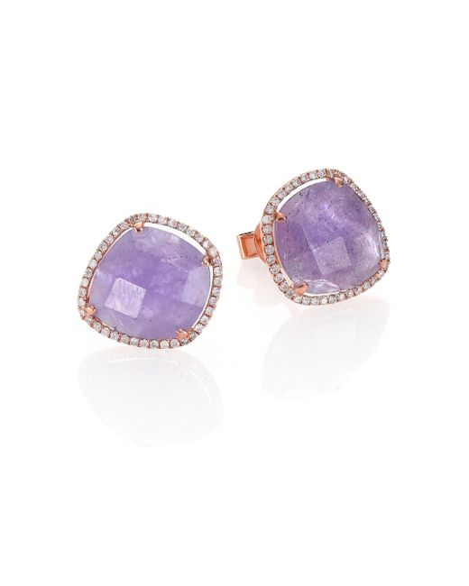 Meira T | Purple Tanzanite, Mother-of-pearl, Diamond & 14k Rose Gold Doublet Earrings | Lyst