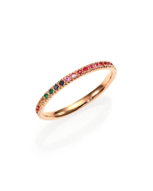 Sydney Evan | Pink Multicolor Sapphire, Ruby, Emerald & 14k Rose Gold Rainbow Eternity Band Ring | Lyst