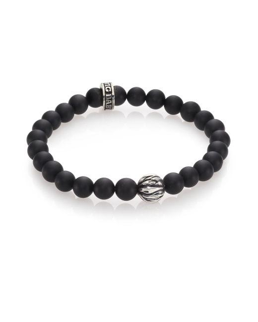 King Baby Studio - Black Onyx & Silver Feather Beaded Bracelet for Men - Lyst