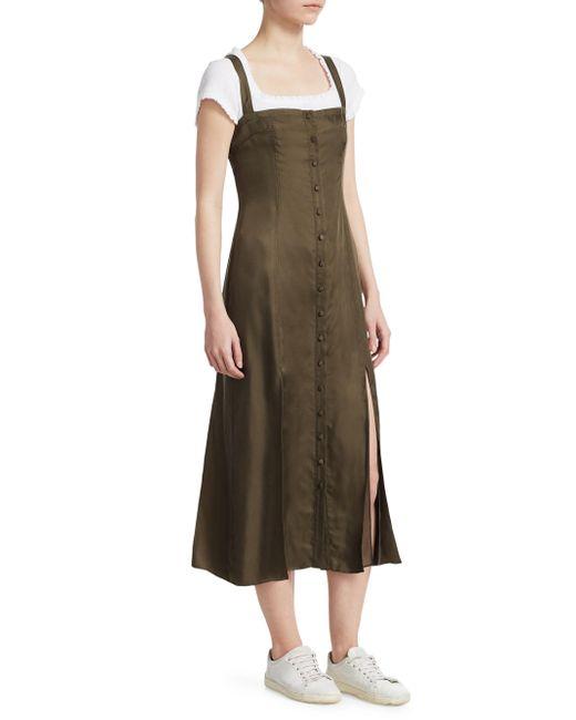Cinq À Sept - Green Alexa Cupro Twill Slip Dress - Lyst