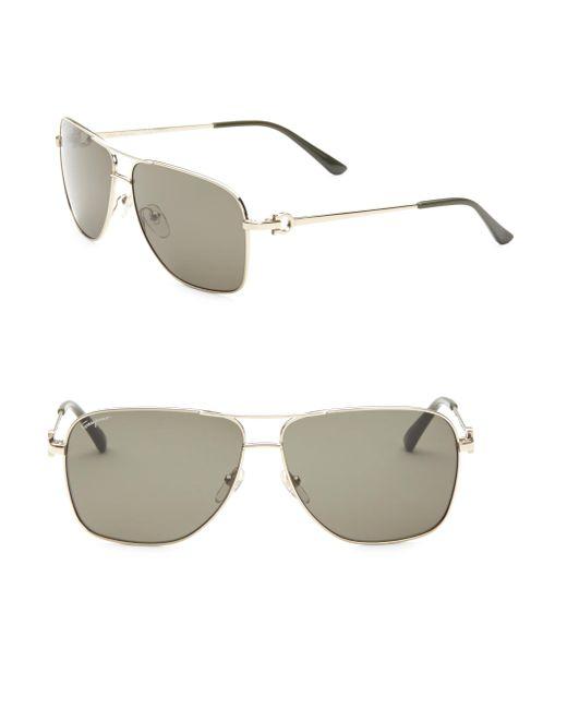 Ferragamo - Metallic Aviator Sunglasses for Men - Lyst