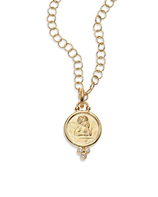 Temple St. Clair | Metallic Angel Diamond & 18k Yellow Gold Medium Pendant | Lyst