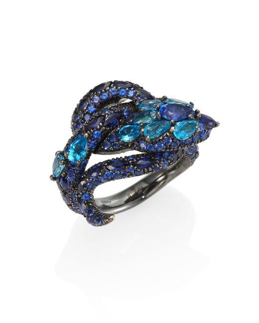 Gucci - Le Marché Des Merveilles Blue Topaz, Sapphire & 18k White Gold Ring - Lyst