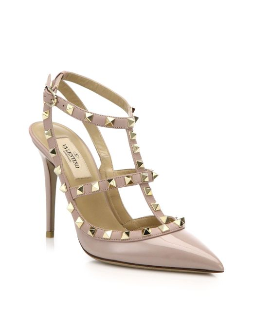 Valentino - Pink Patent Leather Rockstud Ankle-strap Sandals - Lyst
