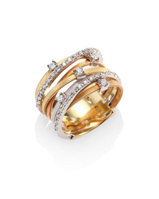 Marco Bicego   Metallic Goa Diamond, 18k White, Rose & Yellow Gold Seven-strand Ring   Lyst