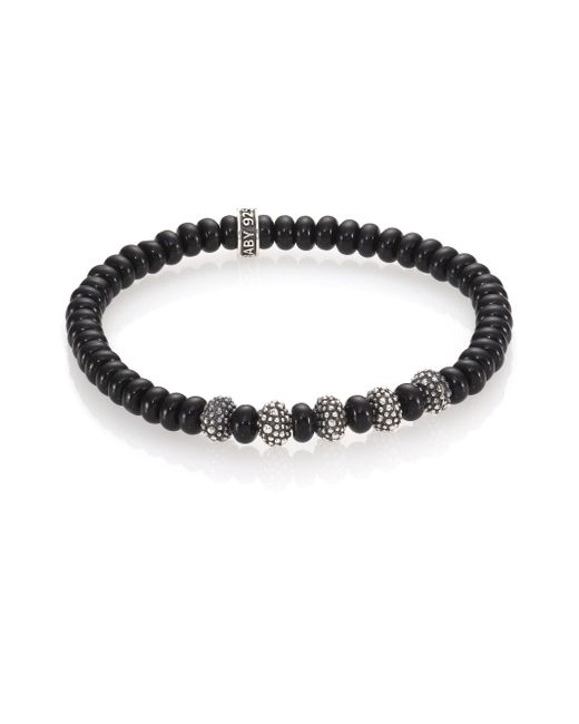 King Baby Studio | Metallic Black Onyx & Sterling Silver Bead Bracelet for Men | Lyst