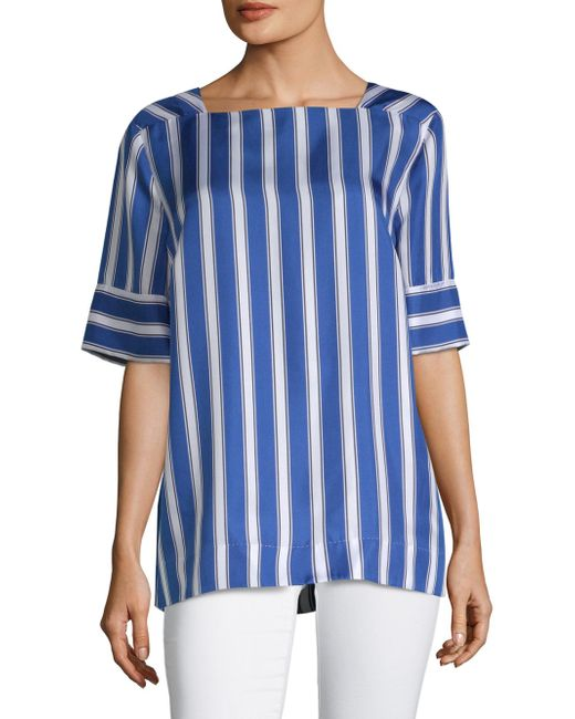 ESCADA - Blue Narnet Silk Cabana Stripe Blouse - Lyst