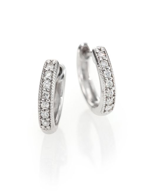 Jude Frances - Classic Diamond & 18k White Gold Huggie Hoop Earrings/0.5 - Lyst