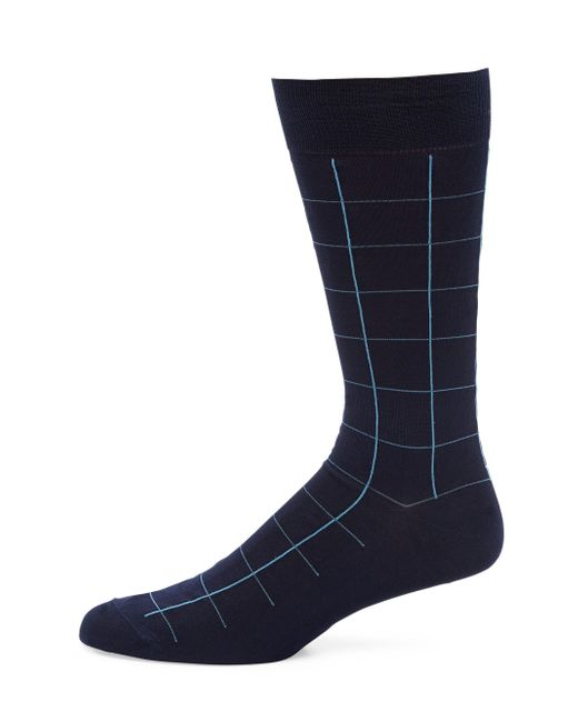 Pantherella - Blue Lambeth Motif Windowpane Socks for Men - Lyst