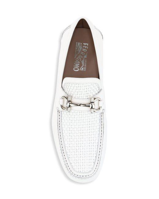 a3d8f69fd7a ... Ferragamo - Men s Parigi Woven Leather Driver Loafers - White for Men -  Lyst