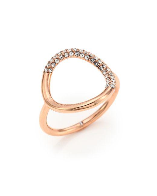 Michael Kors | Metallic Pavé Circle Ring/rose Goldtone | Lyst