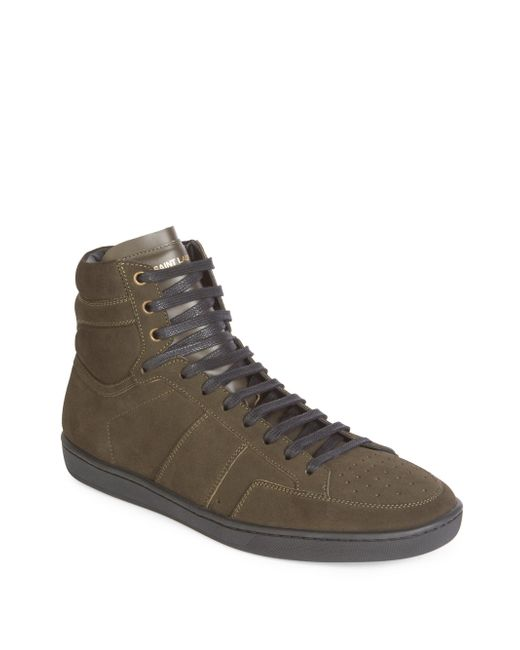 Saint Laurent | Green Hi-top Lace Sneakers for Men | Lyst