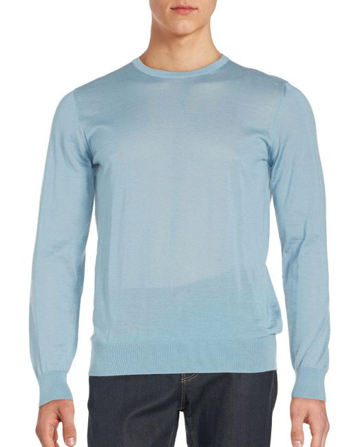 Giorgio Armani - Blue Slim Fit Crewneck Sweater for Men - Lyst