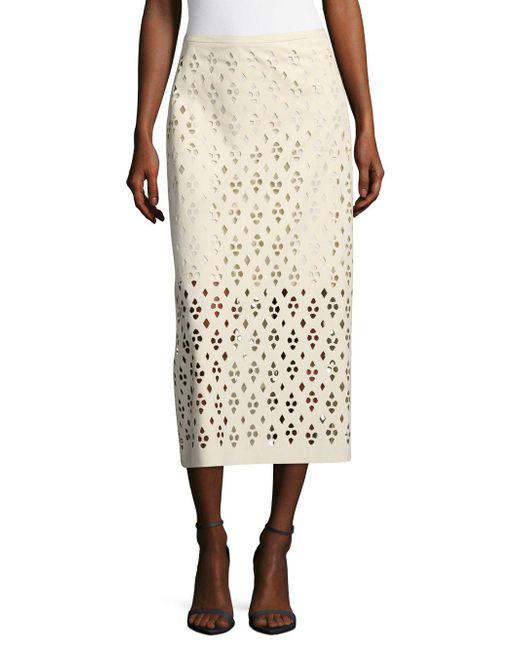 Tibi - White Cutout Zippered Skirt - Lyst