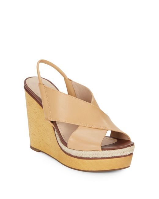 Diane von Furstenberg | Natural Gladys Leather Wedge Sandals | Lyst
