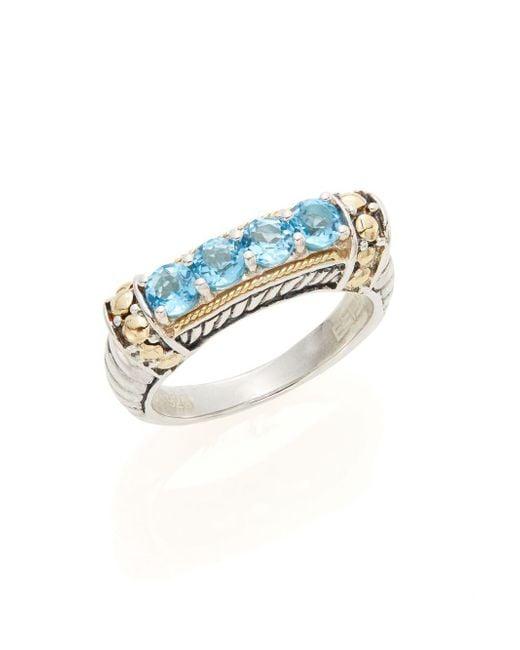 Effy | Metallic 925 Blue Topaz, Sterling Silver & 18k Yellow Gold Ring | Lyst