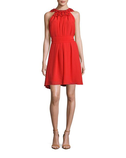 Belle By Badgley Mischka | Red Rachel Embellished-neck Dress | Lyst