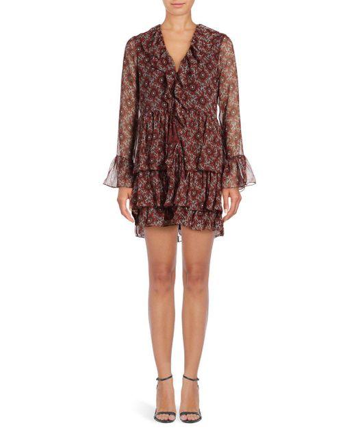 Cinq À Sept | Red Jasmine Ruffled Silk Dress | Lyst