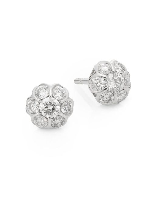 Saks Fifth Avenue | Metallic 0.49 Tcw Diamond & 14k White Gold Stud Earrings | Lyst