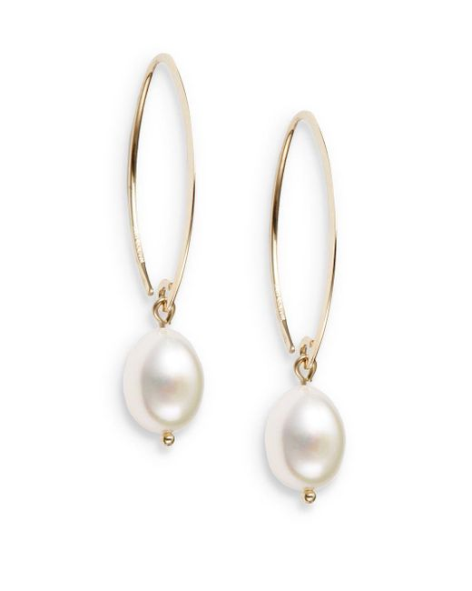 Saks Fifth Avenue | Metallic 10mm White Oval Freshwater Pearl & 14k Yellow Gold Drop Earrings | Lyst